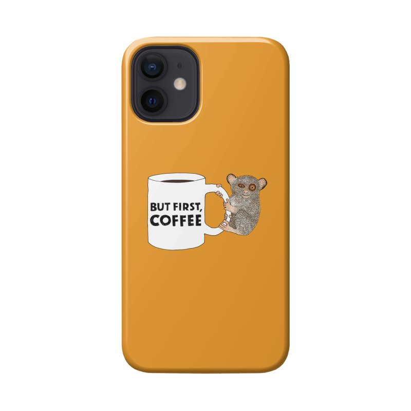 Coffee Loving Tarsier Accessories Phone Case by Martina Scott's Shop