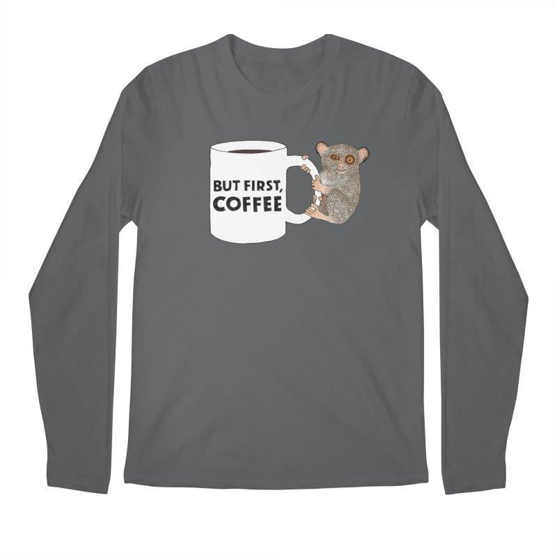 Coffee Loving Tarsier Men's Longsleeve T-Shirt by Martina Scott's Shop