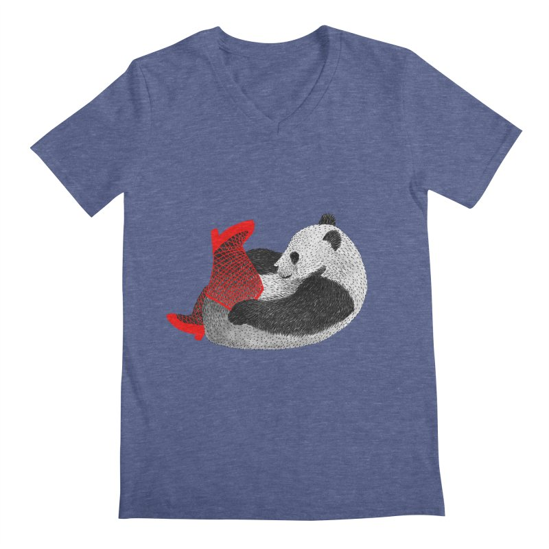 Party Panda Men's V-Neck by Martina Scott's Shop