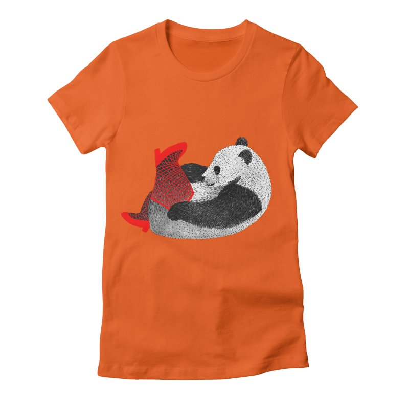 Party Panda Women's Fitted T-Shirt by Martina Scott's Shop