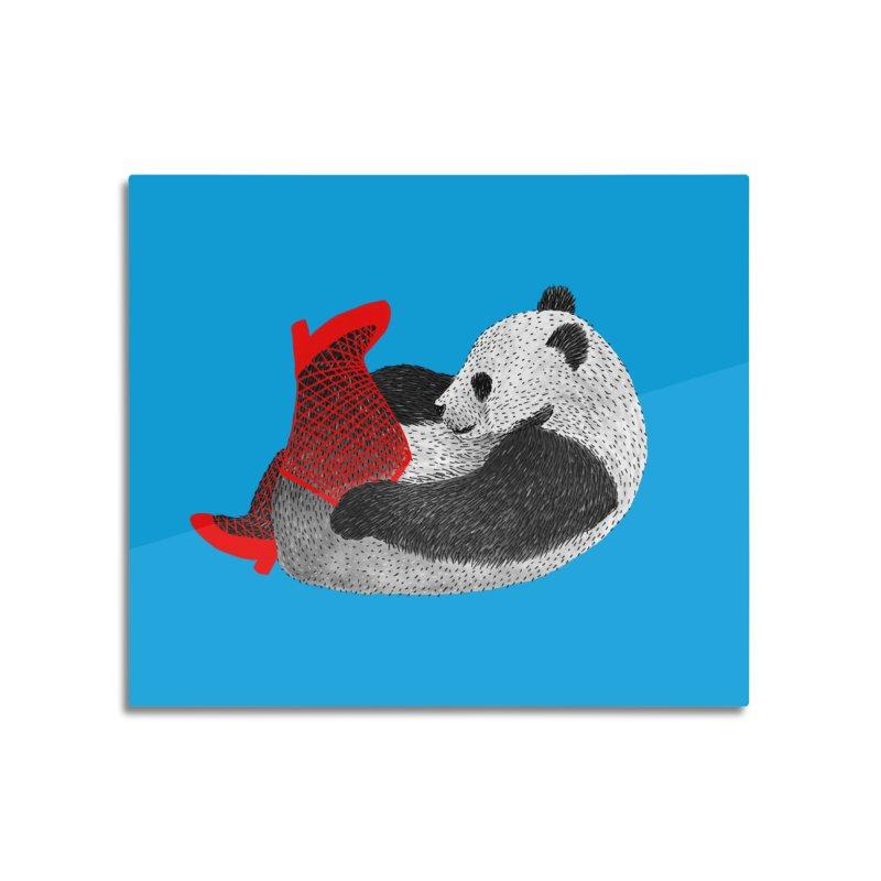 Party Panda Home Mounted Aluminum Print by Martina Scott's Shop
