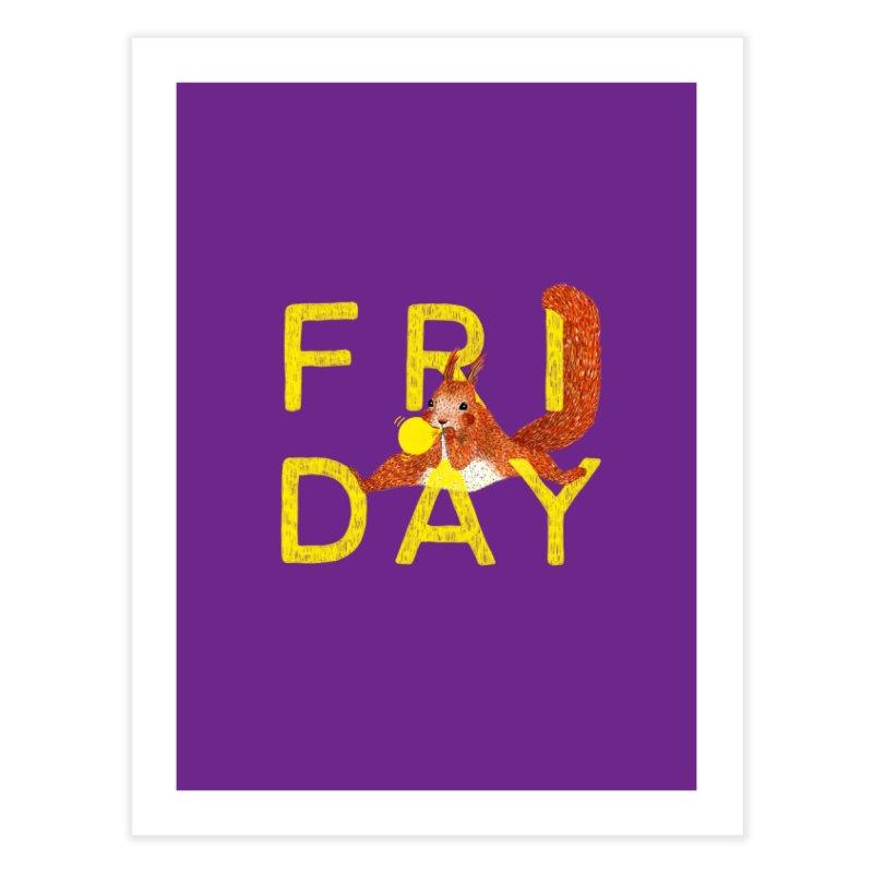 Friday Squirrel Home Fine Art Print by Martina Scott's Shop