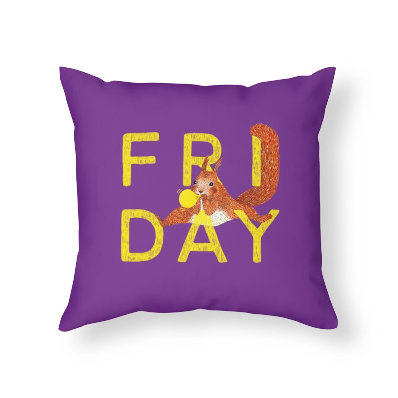 Friday Squirrel Home Throw Pillow by Martina Scott's Shop