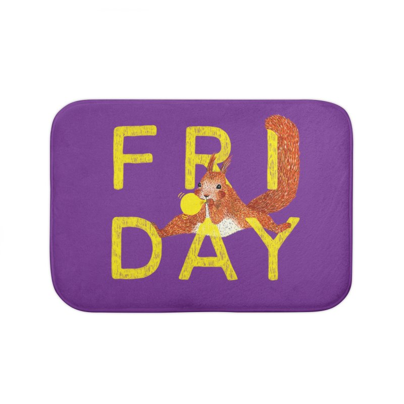 Friday Squirrel Home Bath Mat by Martina Scott's Shop