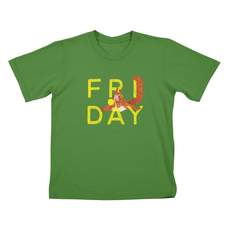 Friday Squirrel Kids T-Shirt by Martina Scott's Shop