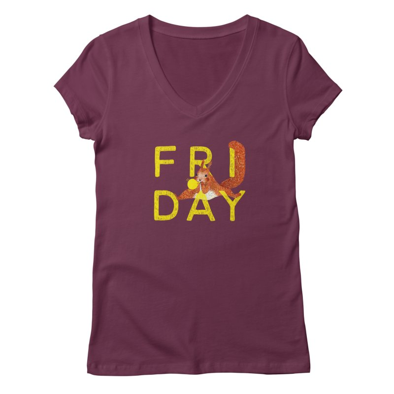 Friday Squirrel Women's V-Neck by Martina Scott's Shop