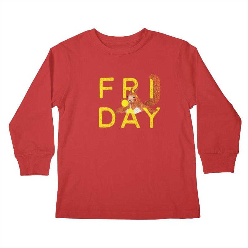 Friday Squirrel Kids Longsleeve T-Shirt by Martina Scott's Shop