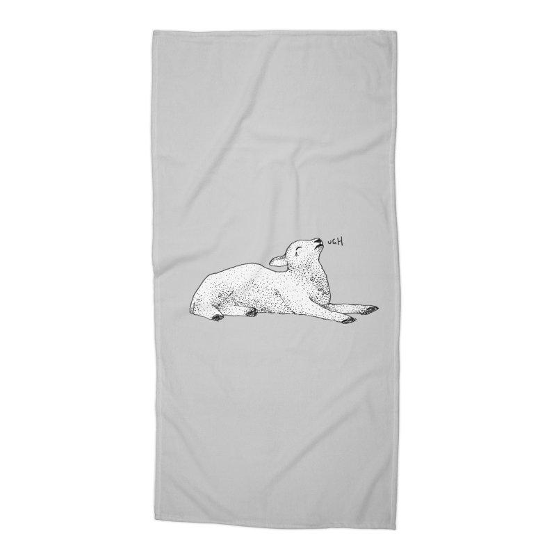 Exasperated Lamb Accessories Beach Towel by Martina Scott's Shop