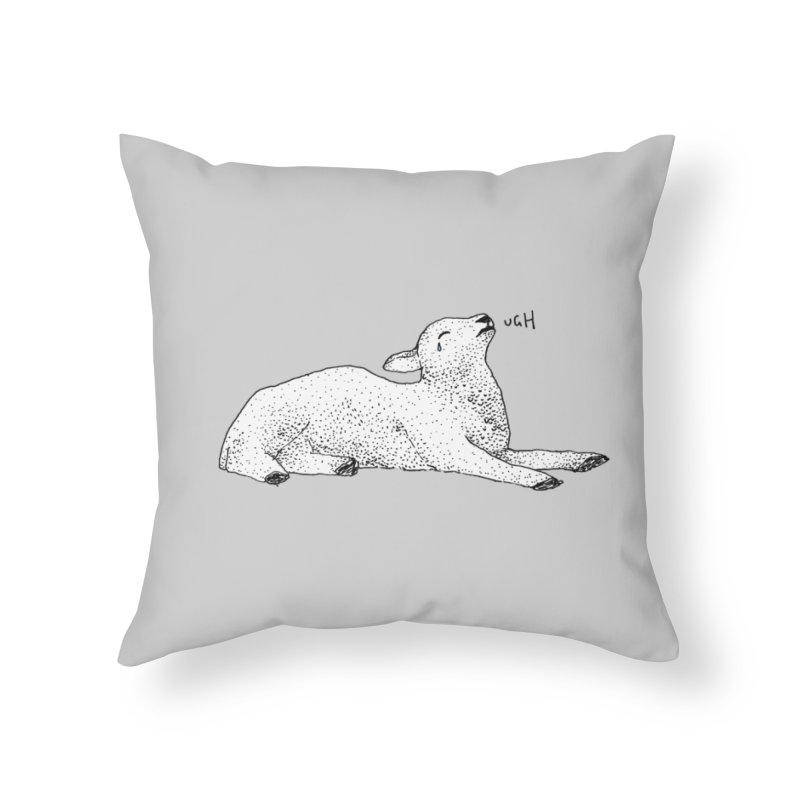 Exasperated Lamb Home Throw Pillow by Martina Scott's Shop