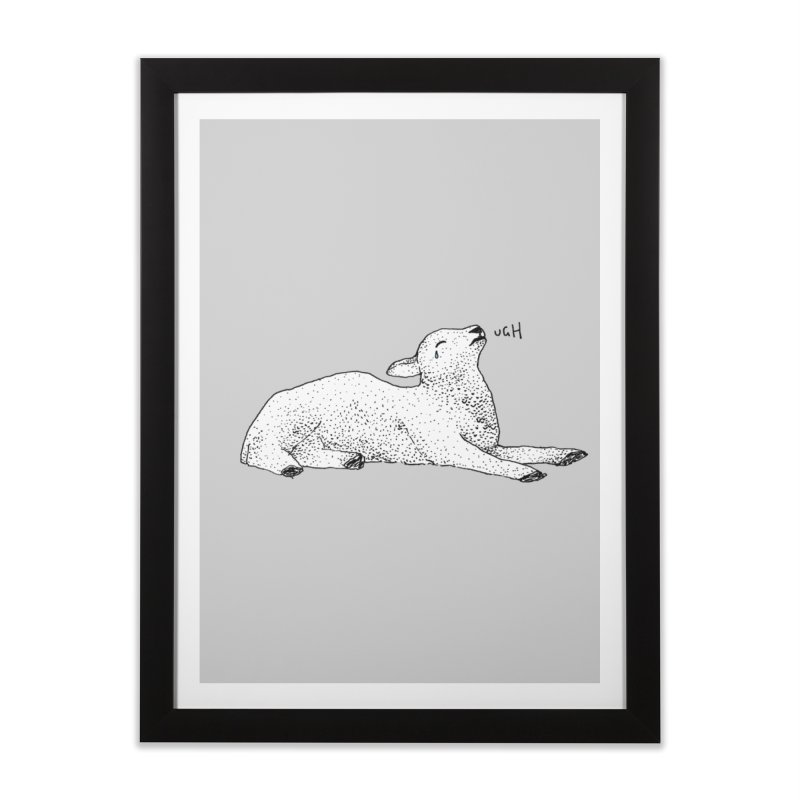 Exasperated Lamb Home Framed Fine Art Print by Martina Scott's Shop