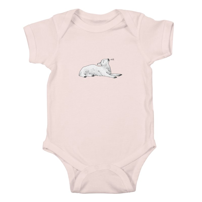 Exasperated Lamb Kids Baby Bodysuit by Martina Scott's Shop