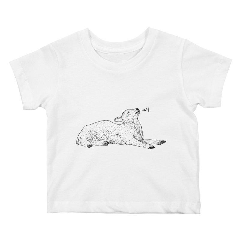 Exasperated Lamb Kids Baby T-Shirt by Martina Scott's Shop