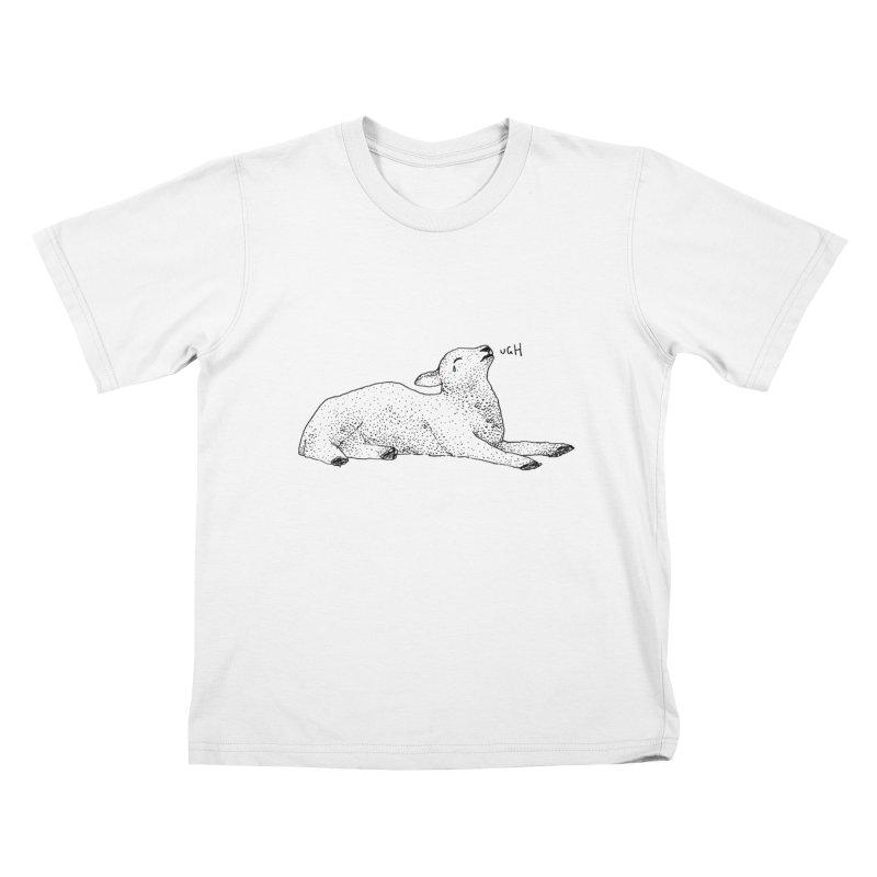 Exasperated Lamb Kids T-Shirt by Martina Scott's Shop