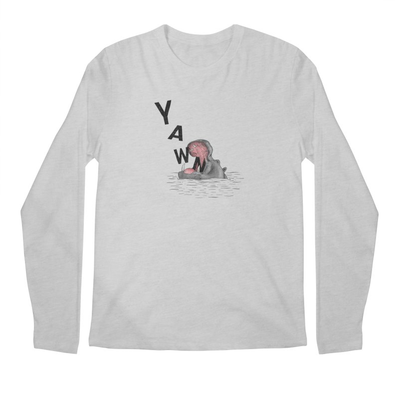 Yawning Hippo Men's Regular Longsleeve T-Shirt by Martina Scott's Shop
