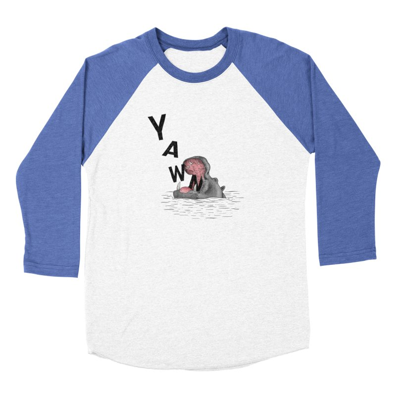 Yawning Hippo Men's Baseball Triblend T-Shirt by Martina Scott's Shop