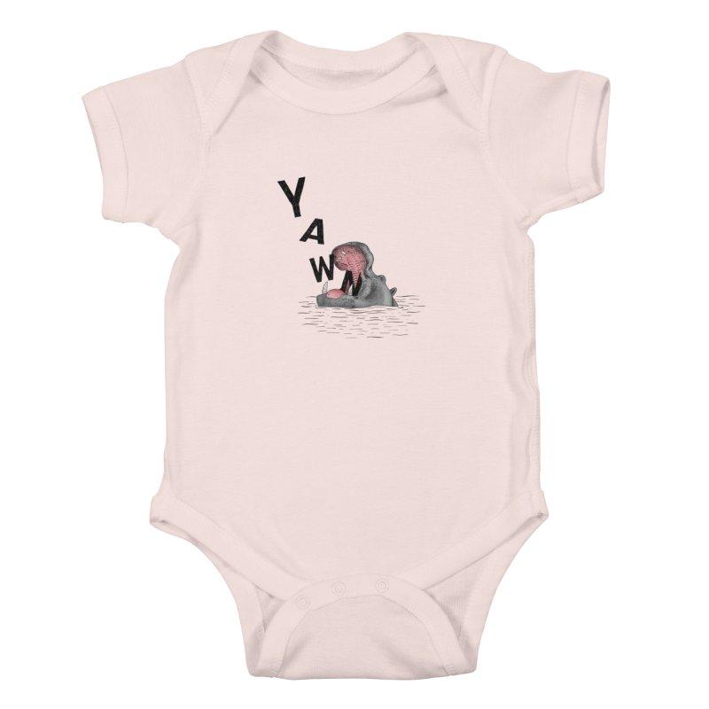Yawning Hippo Kids Baby Bodysuit by Martina Scott's Shop