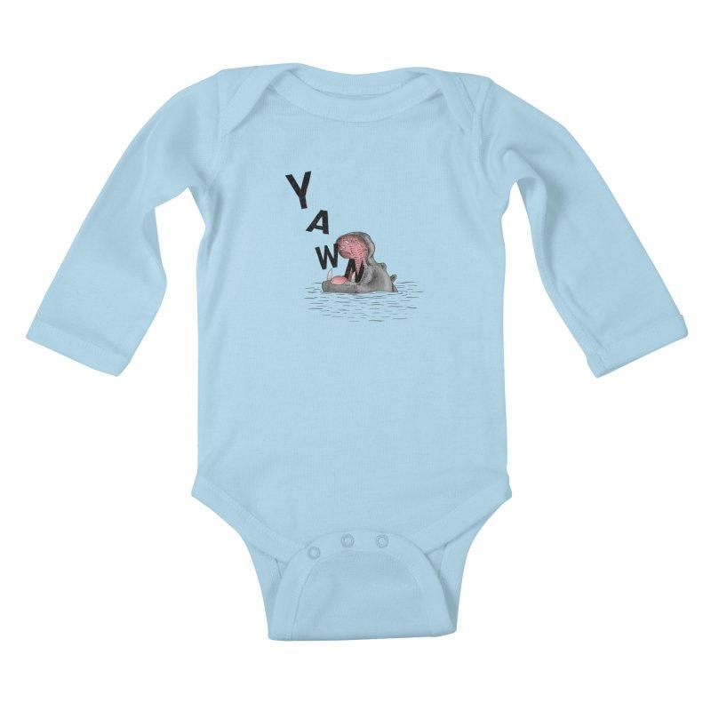 Yawning Hippo Kids Baby Longsleeve Bodysuit by Martina Scott's Shop
