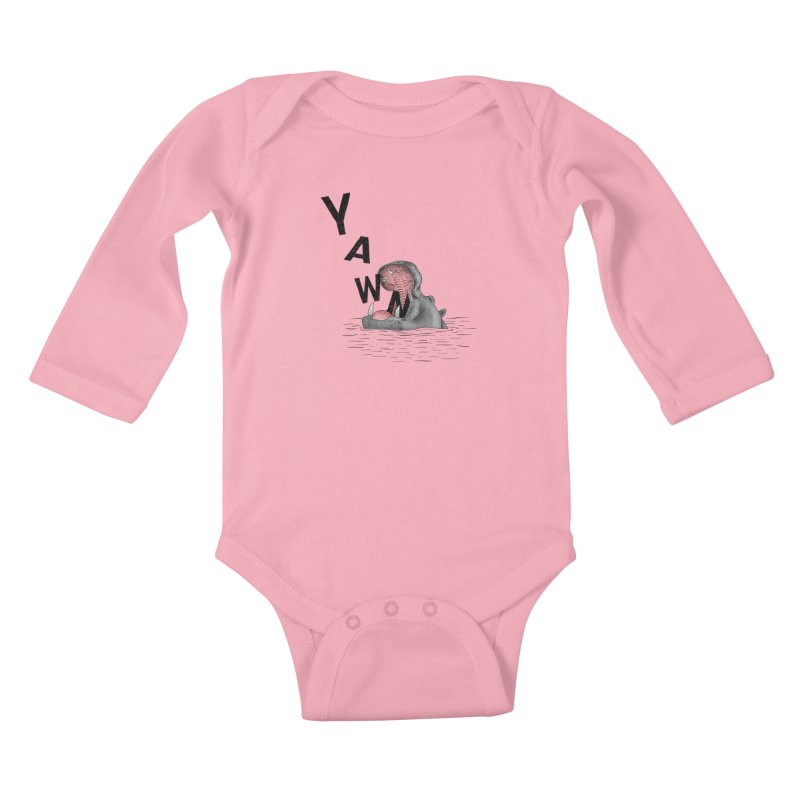 Yawning Hippo Kids Baby Longsleeve Bodysuit by Martina Scott's Shop