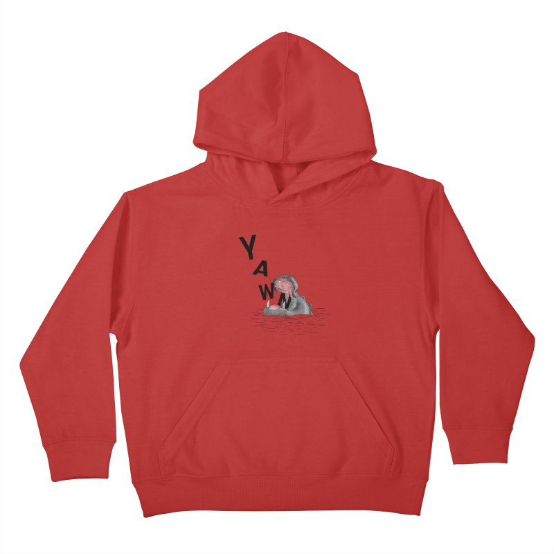 Yawning Hippo Kids Pullover Hoody by Martina Scott's Shop