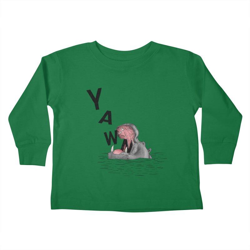 Yawning Hippo Kids Toddler Longsleeve T-Shirt by Martina Scott's Shop