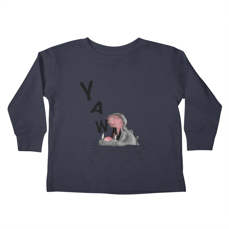 Yawning Hippo Kids Toddler Longsleeve T-Shirt by Martina Scott's Shop