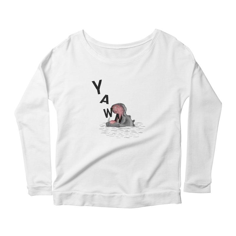 Yawning Hippo Women's Scoop Neck Longsleeve T-Shirt by Martina Scott's Shop