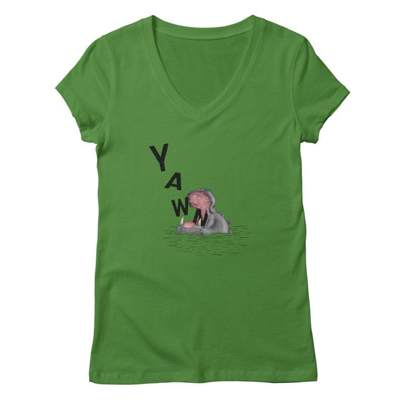 Yawning Hippo Women's Regular V-Neck by Martina Scott's Shop