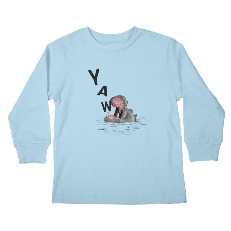 Yawning Hippo Kids Longsleeve T-Shirt by Martina Scott's Shop