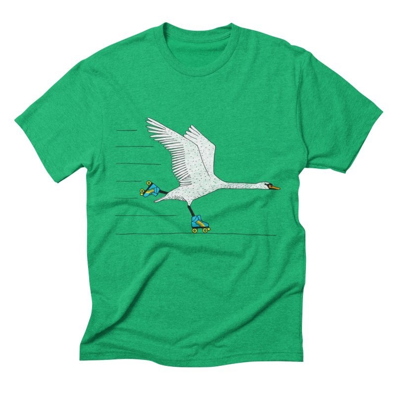 Skating Swan Men's Triblend T-Shirt by Martina Scott's Shop