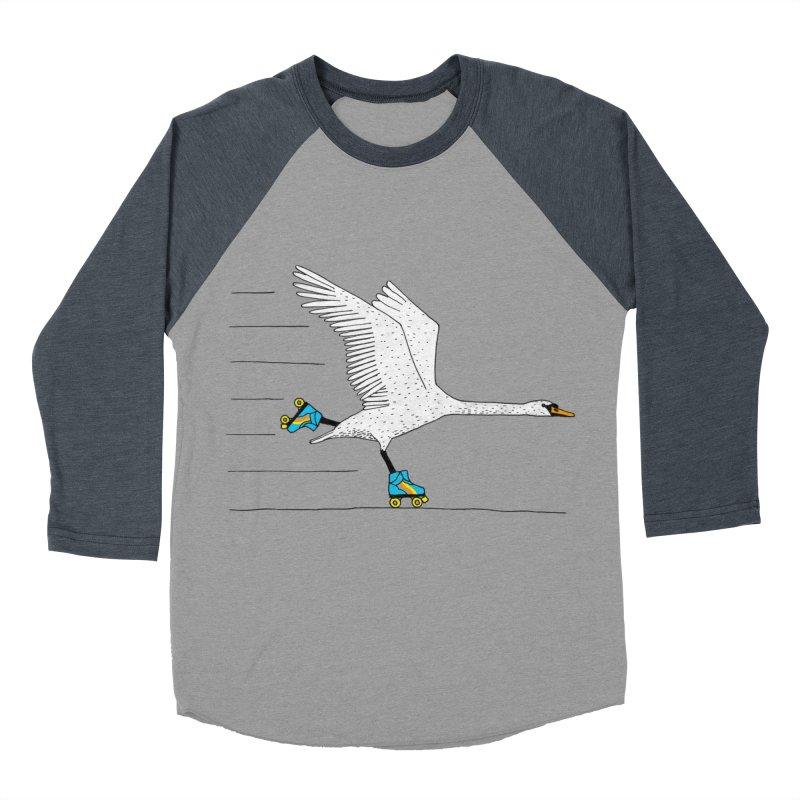 Skating Swan Women's Baseball Triblend Longsleeve T-Shirt by Martina Scott's Shop