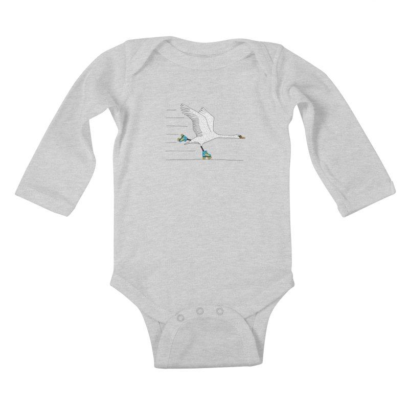 Skating Swan Kids Baby Longsleeve Bodysuit by Martina Scott's Shop