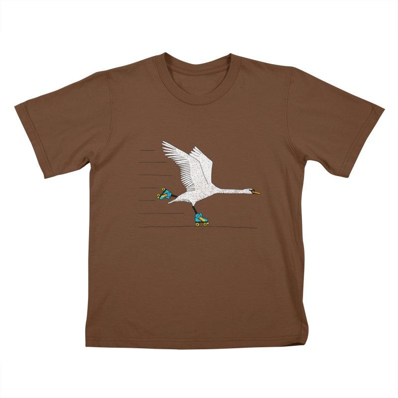 Skating Swan Kids T-Shirt by Martina Scott's Shop