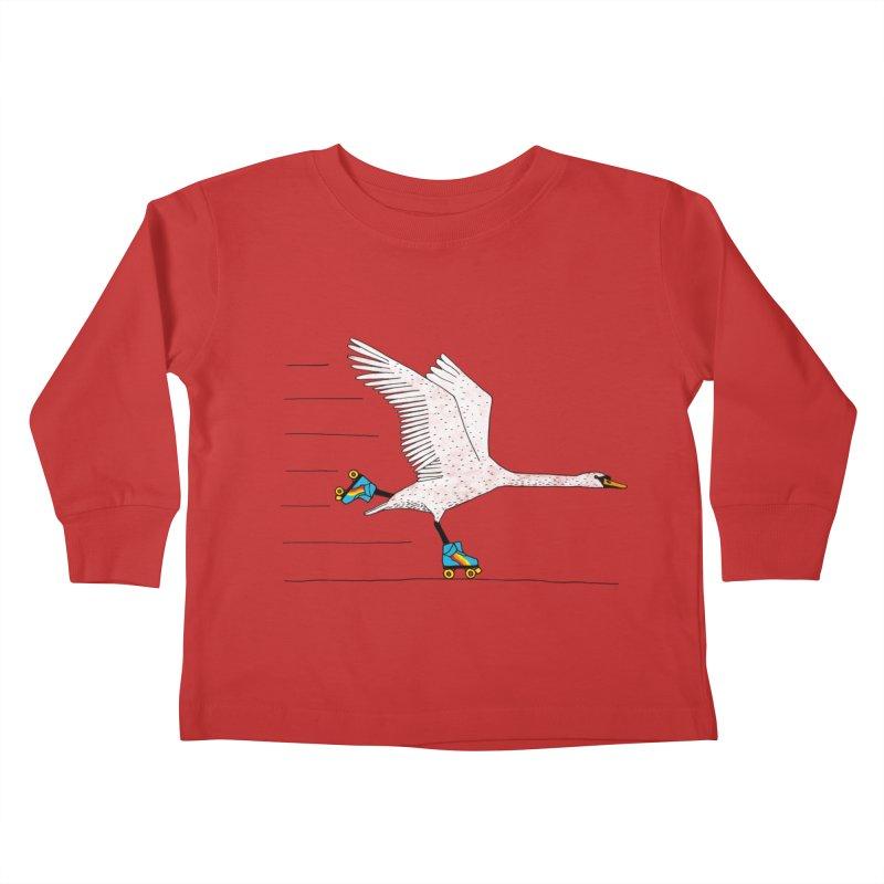 Skating Swan Kids Toddler Longsleeve T-Shirt by Martina Scott's Shop