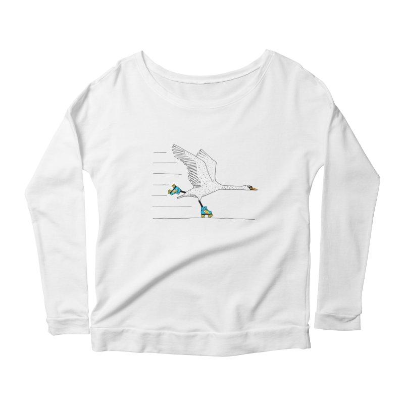 Skating Swan Women's Scoop Neck Longsleeve T-Shirt by Martina Scott's Shop