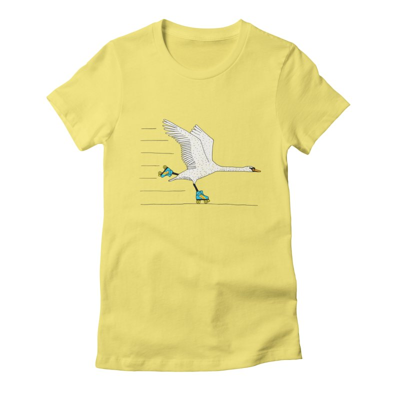 Skating Swan Women's Fitted T-Shirt by Martina Scott's Shop