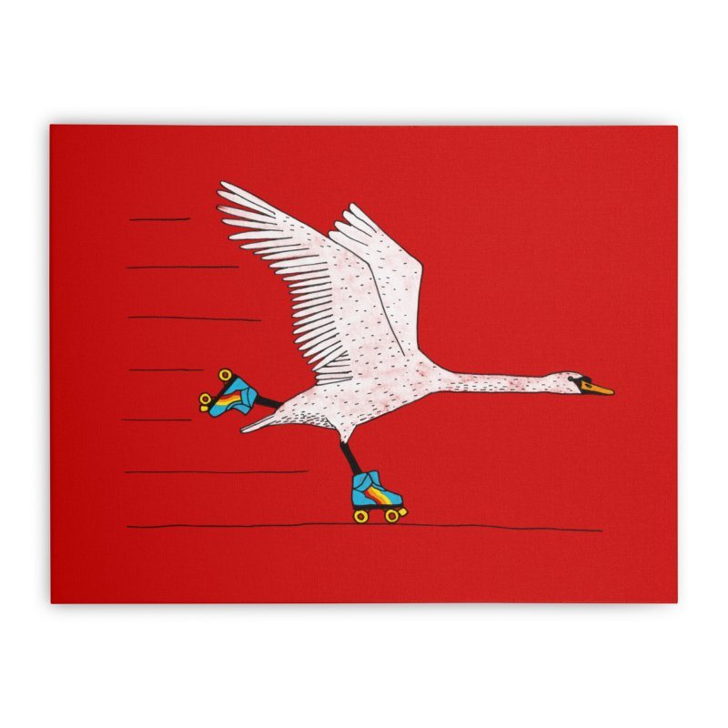 Skating Swan Home Stretched Canvas by Martina Scott's Shop