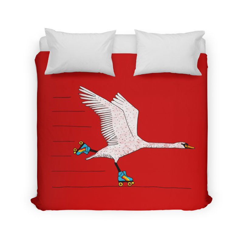 Skating Swan Home Duvet by Martina Scott's Shop