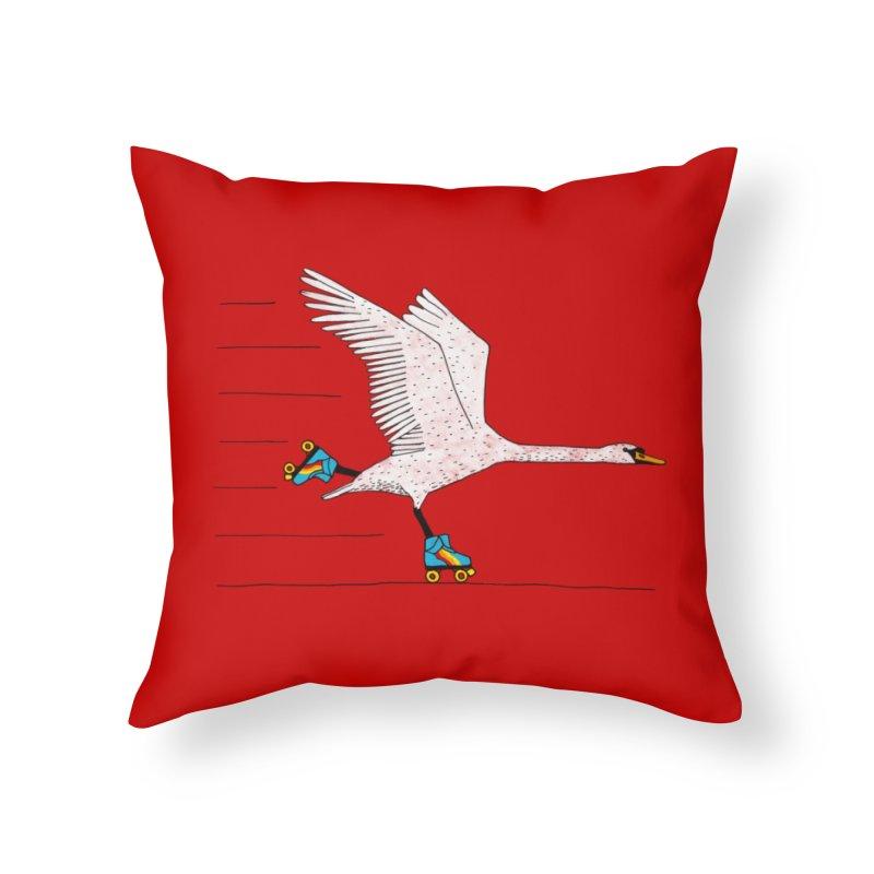 Skating Swan Home Throw Pillow by Martina Scott's Shop