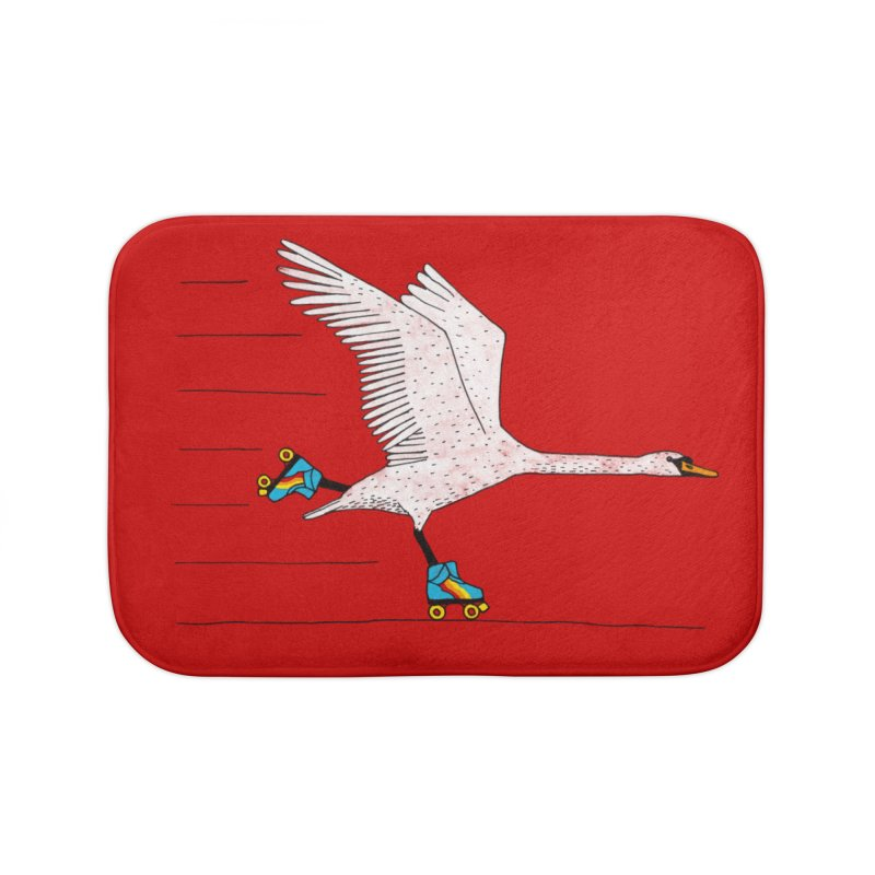 Skating Swan Home Bath Mat by Martina Scott's Shop