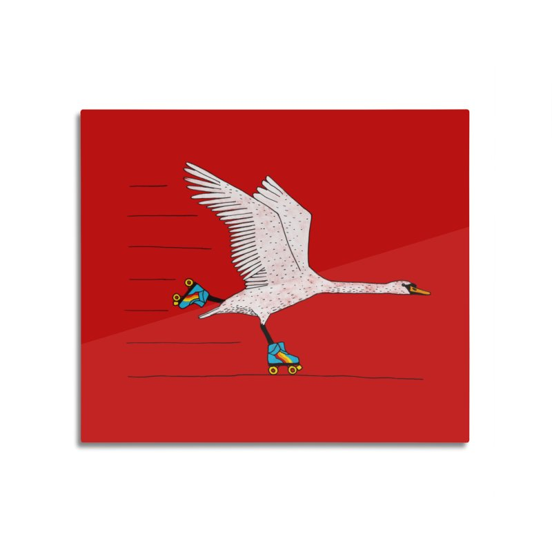 Skating Swan Home Mounted Aluminum Print by Martina Scott's Shop