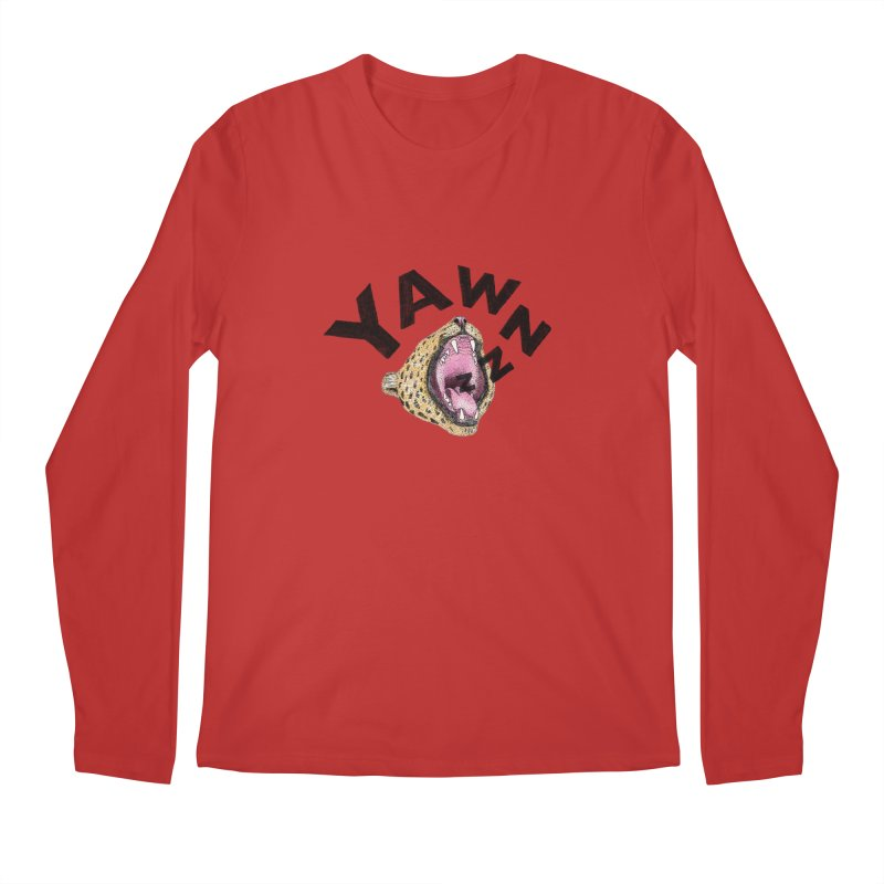 Yawning Leopard Men's Regular Longsleeve T-Shirt by Martina Scott's Shop