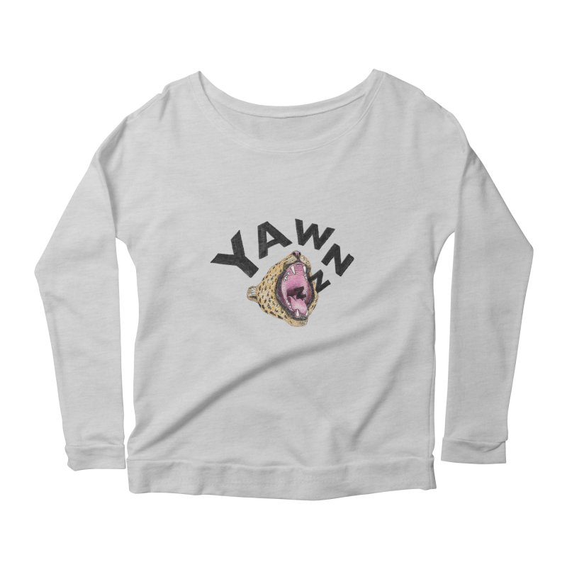 Yawning Leopard Women's Scoop Neck Longsleeve T-Shirt by Martina Scott's Shop