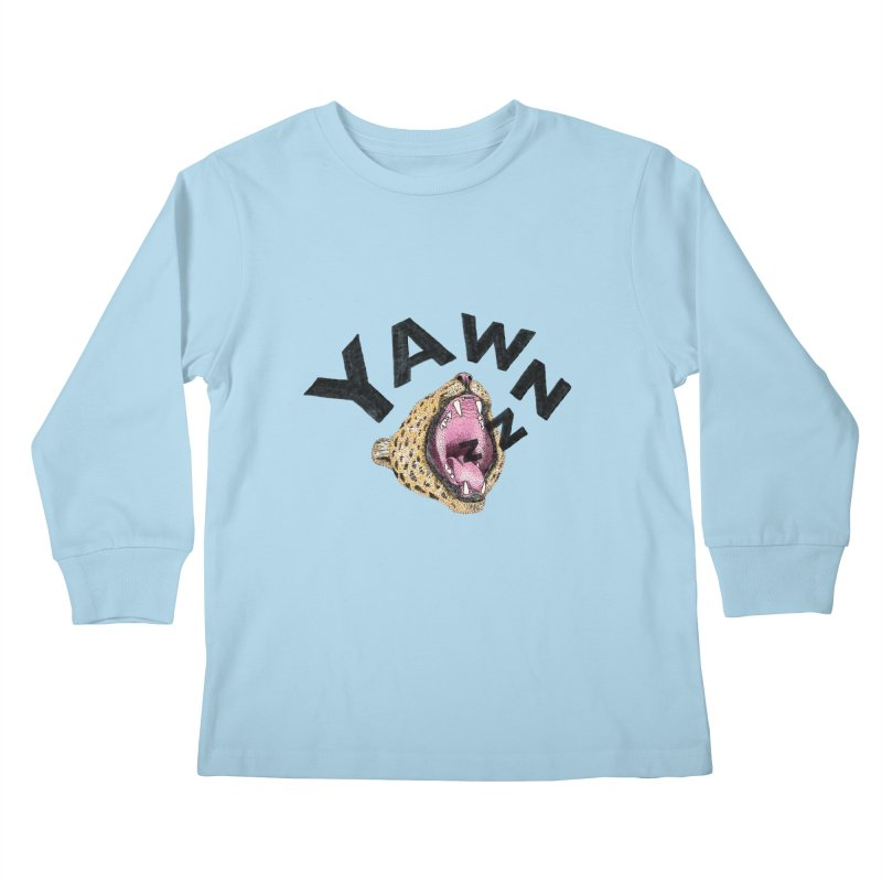 Yawning Leopard Kids Longsleeve T-Shirt by Martina Scott's Shop