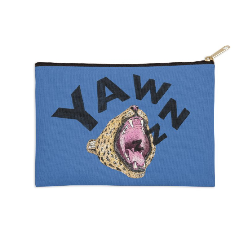 Yawning Leopard Accessories Zip Pouch by Martina Scott's Shop