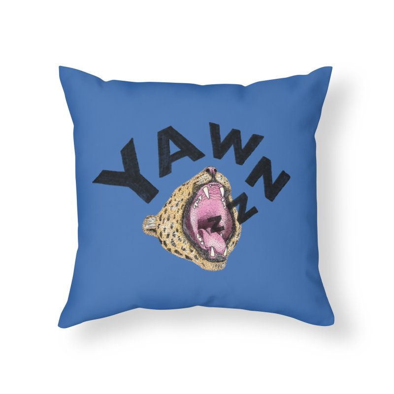 Yawning Leopard Home Throw Pillow by Martina Scott's Shop