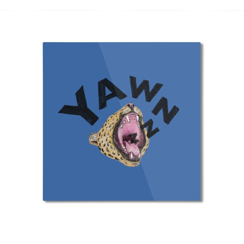 Yawning Leopard Home Mounted Aluminum Print by Martina Scott's Shop