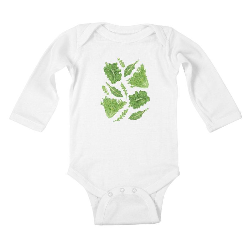 Leafy Kids Baby Longsleeve Bodysuit by Martina Scott's Shop