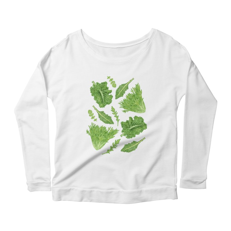 Leafy Women's Scoop Neck Longsleeve T-Shirt by Martina Scott's Shop