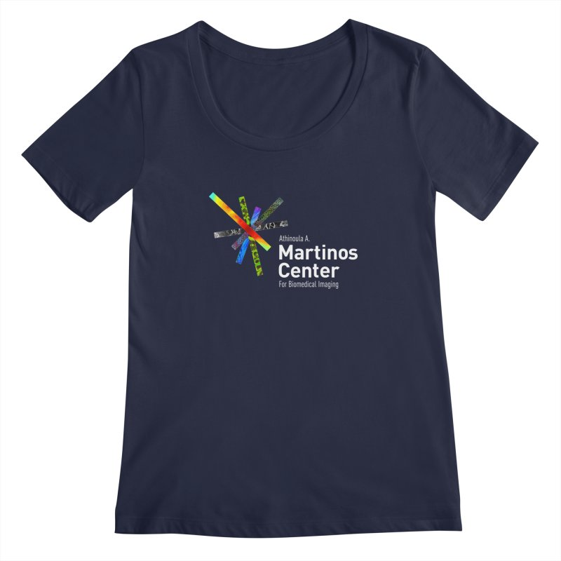 Martinos Center Logo (White Text) Women's Scoopneck by martinos's Artist Shop