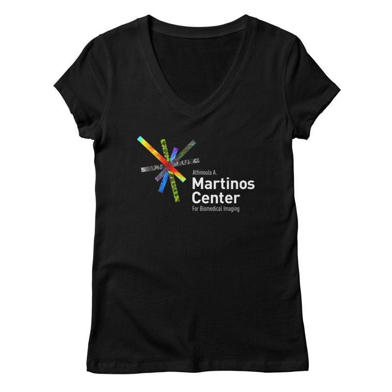 Martinos Center Logo (White Text) Women's V-Neck by martinos's Artist Shop